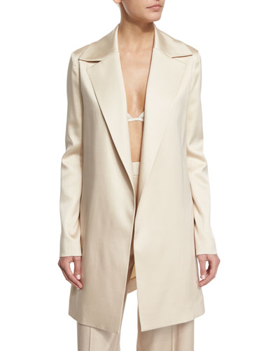 Rallan Open-Front Long Jacket, Alabaster