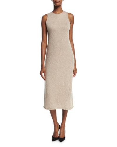 Kira Sleeveless Cashmere Midi Dress, Alabaster Melange
