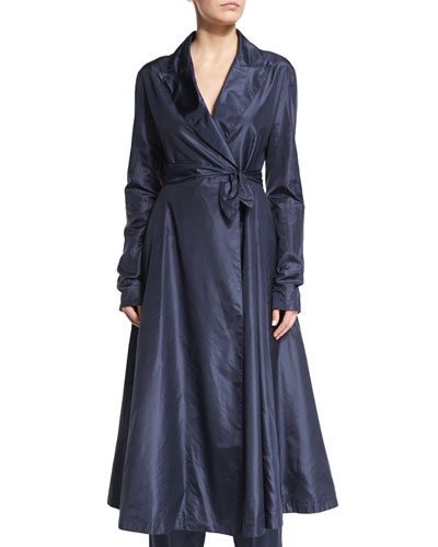Rotine Long-Sleeve Belted Coat, Lapis Blue