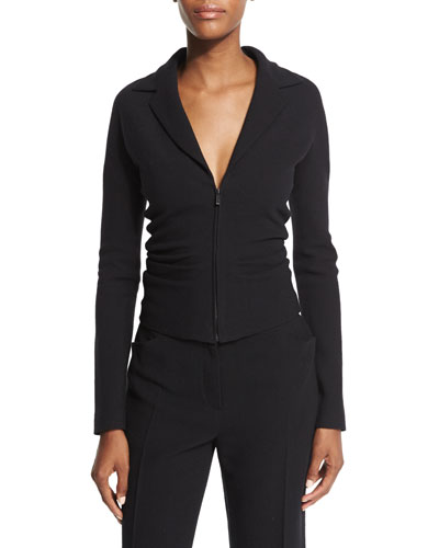 Talina Zip-Front Fitted Jacket, Black