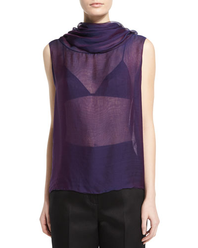 Aurent Cowl-Neck Sleeveless Top, Grape