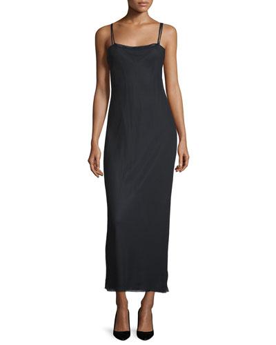 Roel Double-Strap Column Dress, Dark Navy