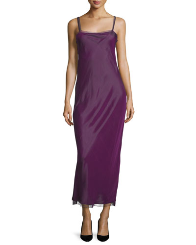 Roel Double-Strap Column Dress, Grape