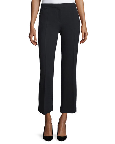 Floc Mid-Rise Straight Cropped Pants, Black
