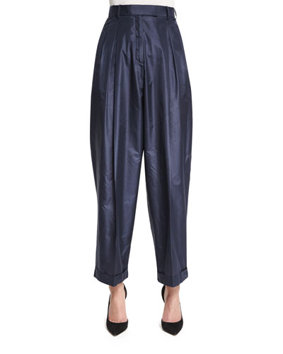 Lussay Pleated-Front Ankle Pants, Lapis Blue