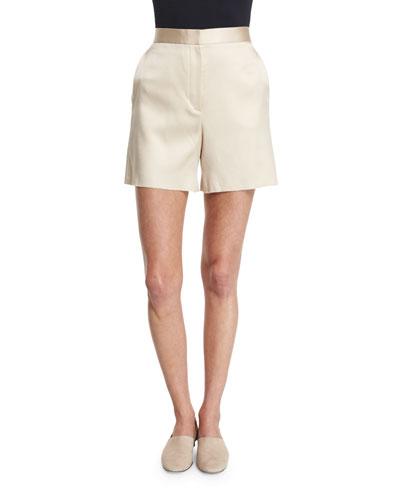 Shors High-Waist Slim-Leg Shorts, Alabaster