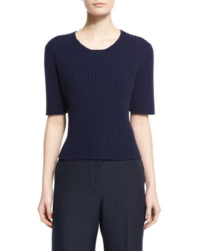 Nias Short-Sleeve Cashmere-Blend Sweater, Deep Navy