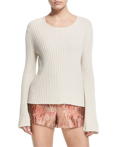 Pleata Long-Sleeve Ribbed Sweater, Old Lace