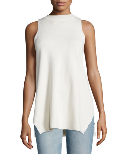 Elpas Sleeveless Jewel-Neck Top, Old Lace