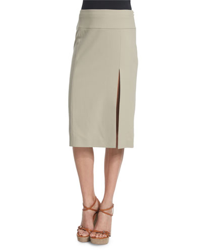 Mid-Rise Straight Wool Skirt W/Slit, Sand