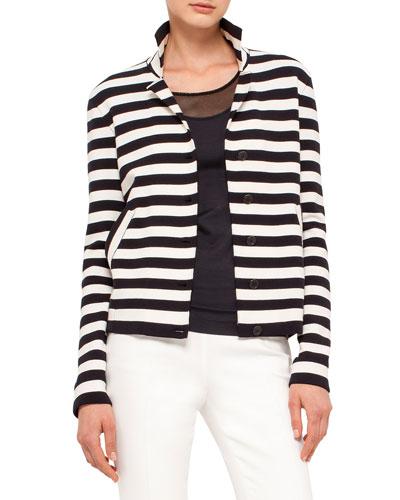 Striped Knit Stretch-Wool Jacket, Navy/Cream