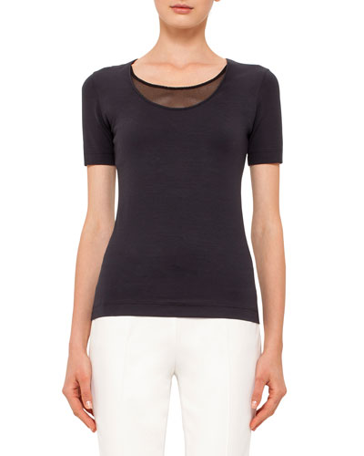 Scoop-Neck Tee with Mesh Detail, Navy