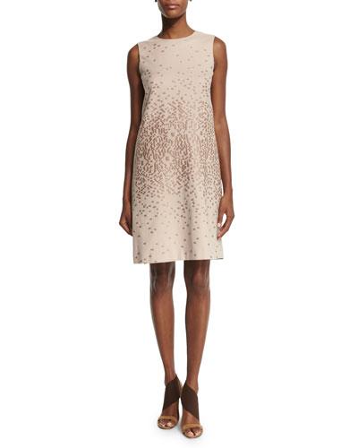 Sleeveless Textured Shift Dress, Cipria Beige