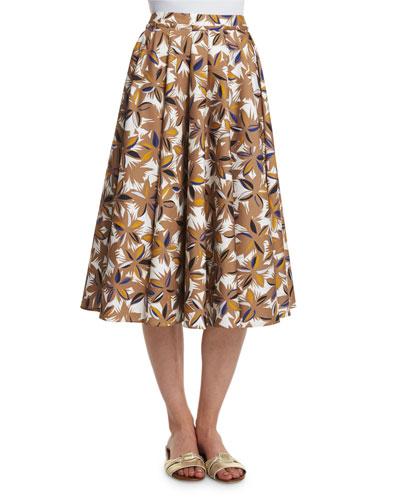 Jungle-Print Full Skirt, Phard/Multi