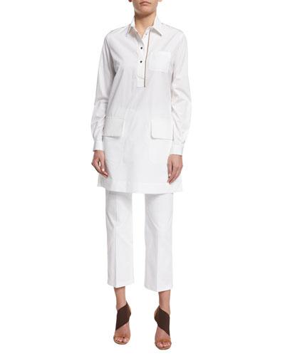 Long-Sleeve Shirtdress W/Contrast Trim, White