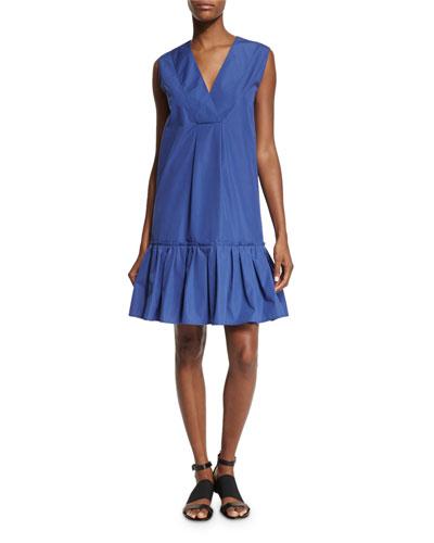 Sleeveless Ruffle-Hem Shift Dress, China Blue