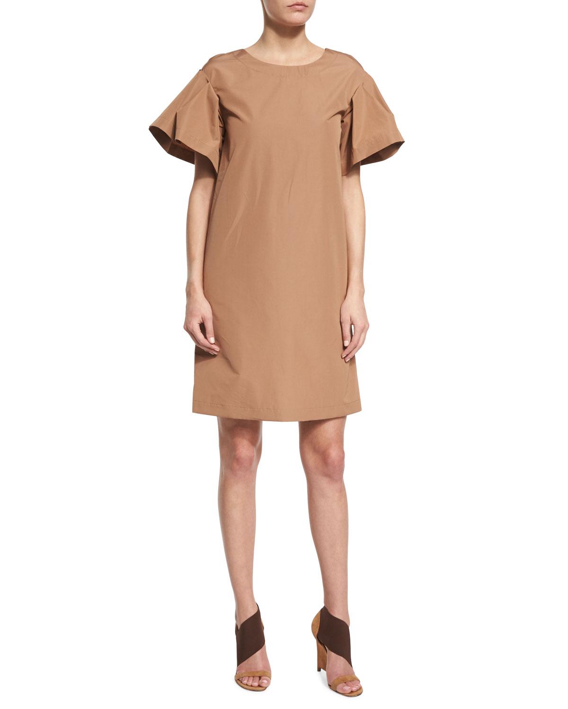 Ruffle-Sleeve Cotton Shift Dress, Phard Brown