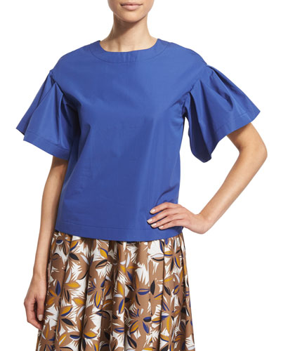 Ruffled Short-Sleeve Jewel-Neck Blouse, China Blue