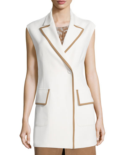 Snap-Front Two-Tone Long Vest, Ivory