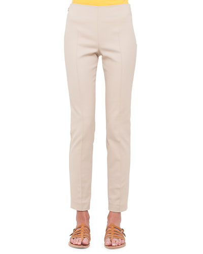 Melissa Techno Slim-Leg Pants, Sand
