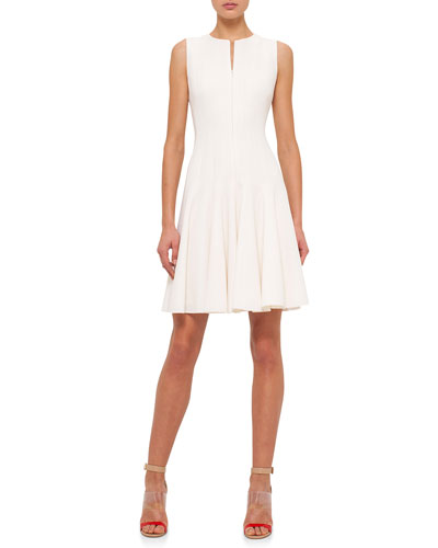 Sleeveless Fit-&-Flare Dress, Off White