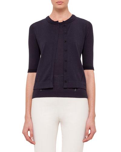 Half-Sleeve Button-Front Cardigan, Navy