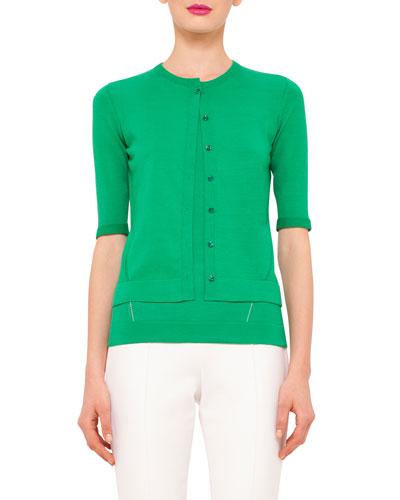 Half-Sleeve Button-Front Cardigan, Bonsai