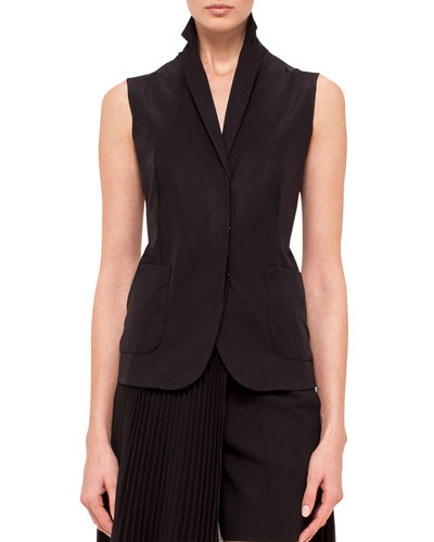 Notched-Collar Gilet, Black