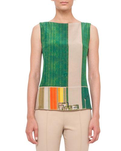 Sleeveless Bateau-Neck Flower-Farm-Print Blouse, Multi Colors