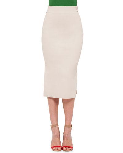 High-Waist Long Pencil Skirt, Beige