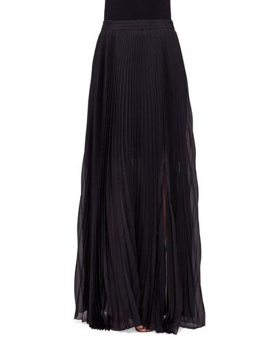Mid-Rise Plisse Maxi Skirt, Black