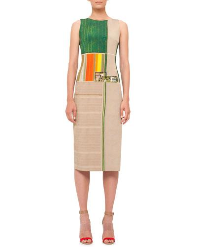 Sleeveless Flower-Farm-Print Sheath Dress, Multi Colors