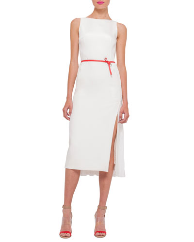 Sleeveless Plisse-Back Sheath Dress, Anemone