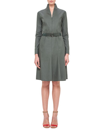 Long-Sleeve Mock-Neck A-Line Shirtdress, Algae