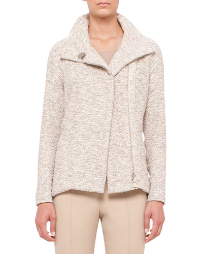 Easy Long-Sleeve Boucle Tweed Jacket, Kami/Beige