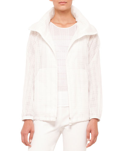 Zip-Front Plaid Short Parka Jacket, Anemone