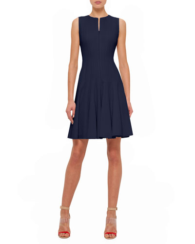 Sleeveless Fit-&-Flare Zip Dress, Navy