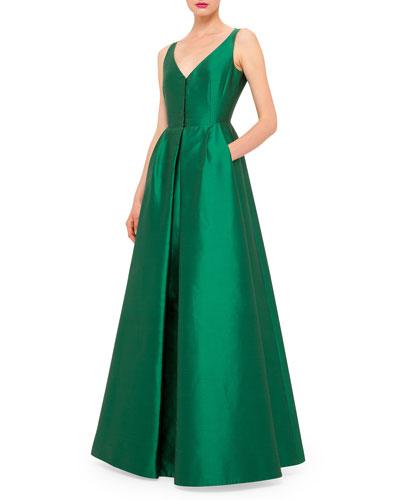 Sleeveless V-Neck Coatdress Gown, Bonsai