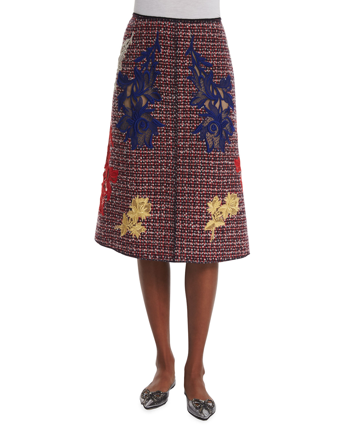 A-Line Embroidered Tweed Skirt with Mickey, Red