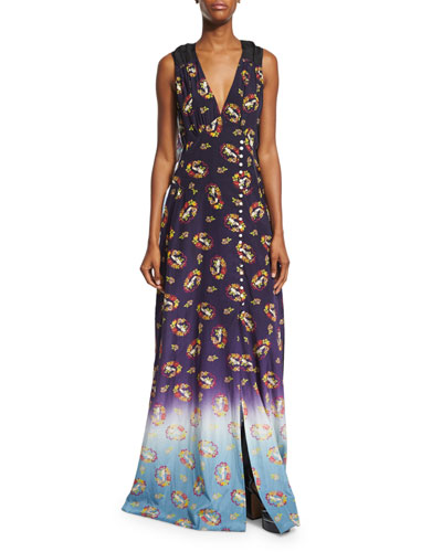 Victorian Grunge Sleeveless Maxi Dress, Navy
