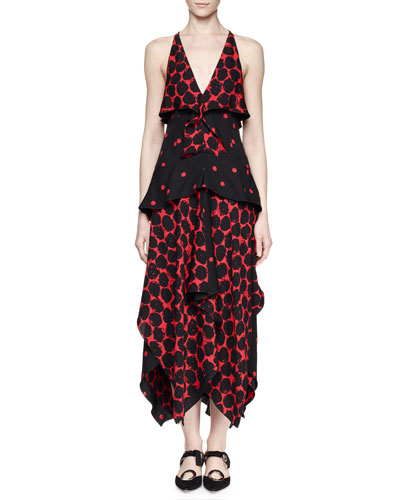 Sleeveless Tiered Handkerchief-Hem Mazi Dress, Black/Crimson