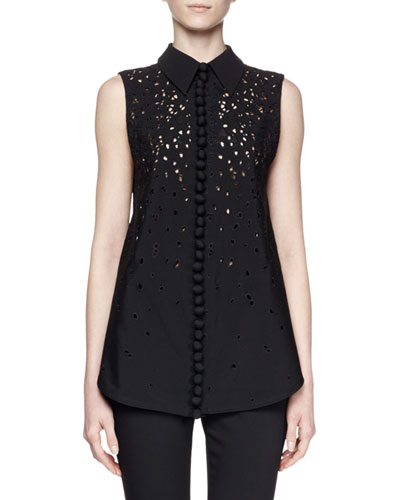 Sleeveless Collared Embroidered Top, Black