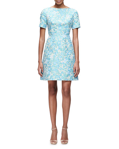 Short-Sleeve Floral-Print Dress, Blue/Multi