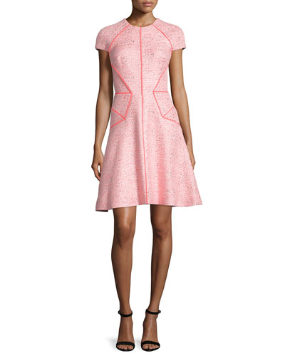 Blair Cap-Sleeve Sparkle Tweed Dress, Pink/Multi
