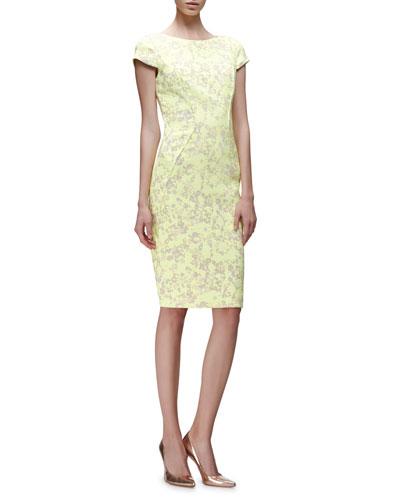Cap-Sleeve Floral-Print Sheath Dress, Citrine/Multi