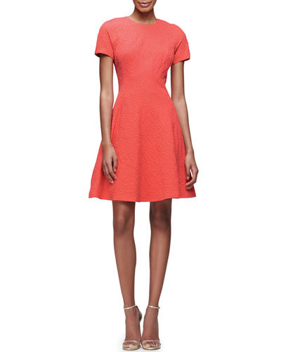 Short-Sleeve Matelasse Fit-&-Flare Dress, Coral