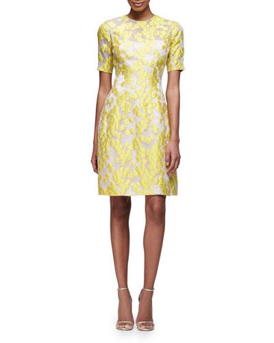 Holly Elbow-Sleeve Daisy-Print Dress, Citrine