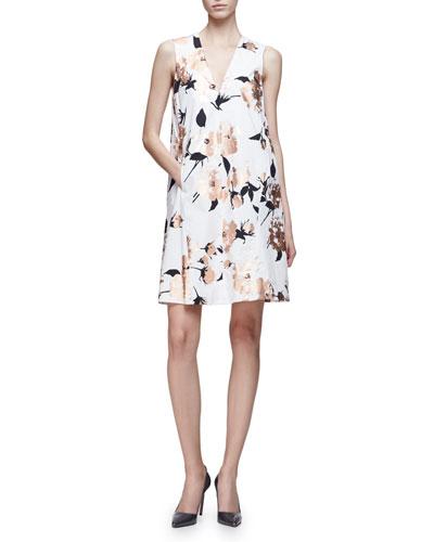 Sleeveless Metallic-Floral A-Line Dress, Copper