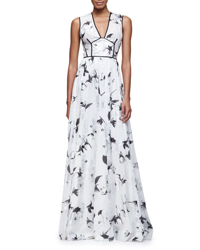 Sleeveless V-Neck Metallic-Floral Gown, Silver
