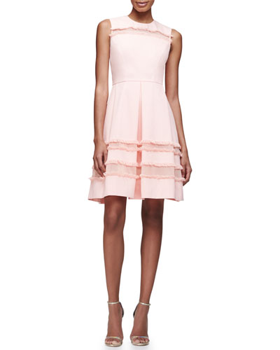 Grace Full-Skirt Fringe-Trim Dress, Blush